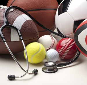 Sports balls for a number of different sports with stethescope